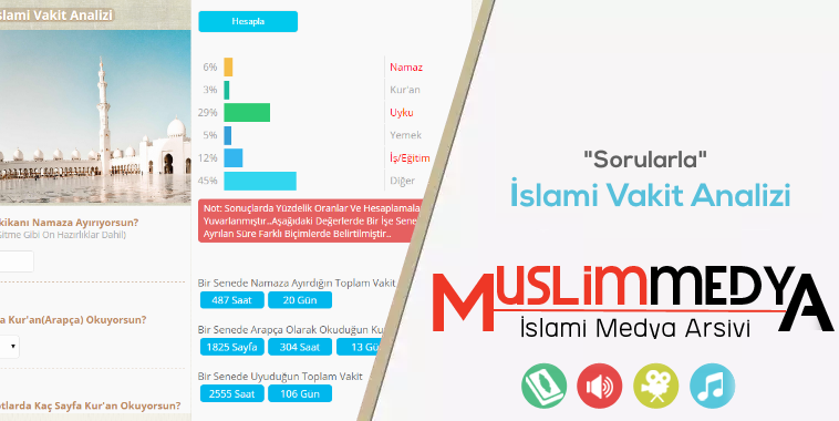 Hangi İşe Ne Kadara Zaman Ayırıyorsunuz? Senelik Yüzdelik Dilimde İslami Vakit Analizi Yapın..